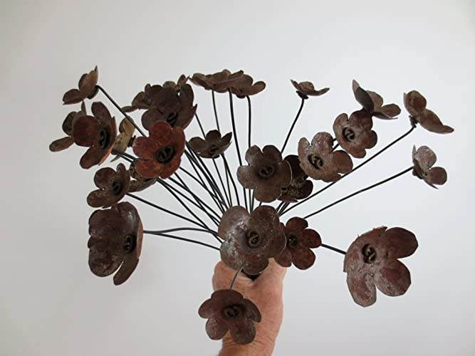 Amazon.com: Rustic Bouquet of Rusty Metal Flowers For Your Wedding ...