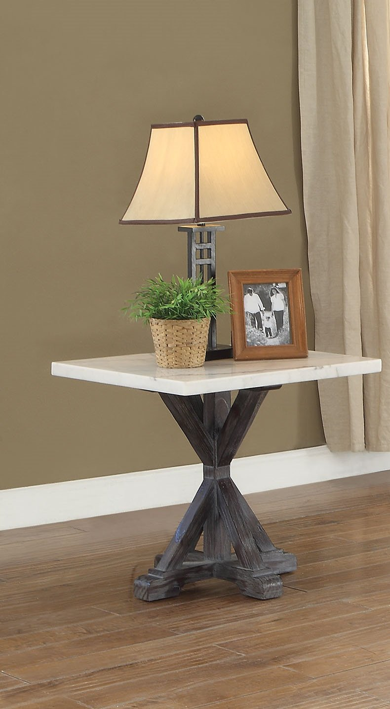ACME Furniture 84547 Romina End Table, White/Weathered Espresso