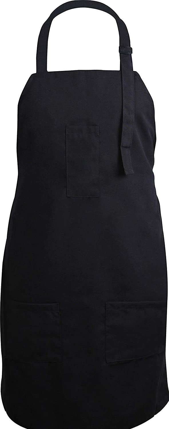 Utopia Kitchen Adjustable Bib Apron with 3 Pockets - Commercial Restaurant and Home Kitchen Apron - Adjustable Neck Strap - Extra Long Ties - Black UK0006