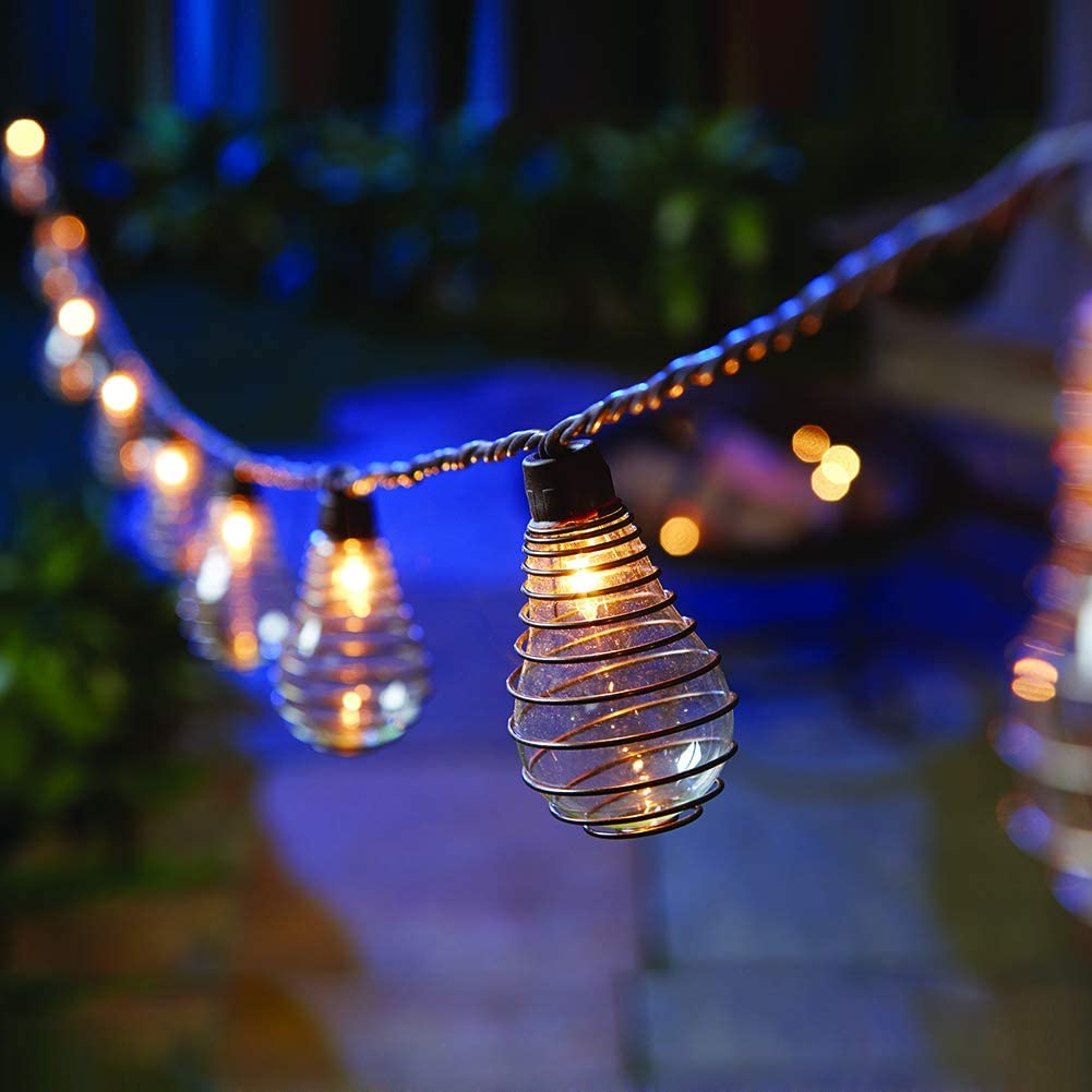 Outdoor Patio String Lights, 10 PS50 Bulbs with Antique Wire Spring, ZHONGXIN UL Listed Connectable Weather-Resistant Indoor/Outdoor Decor Light for Pergola Porch Gazebo Garden Party Yard Bistro