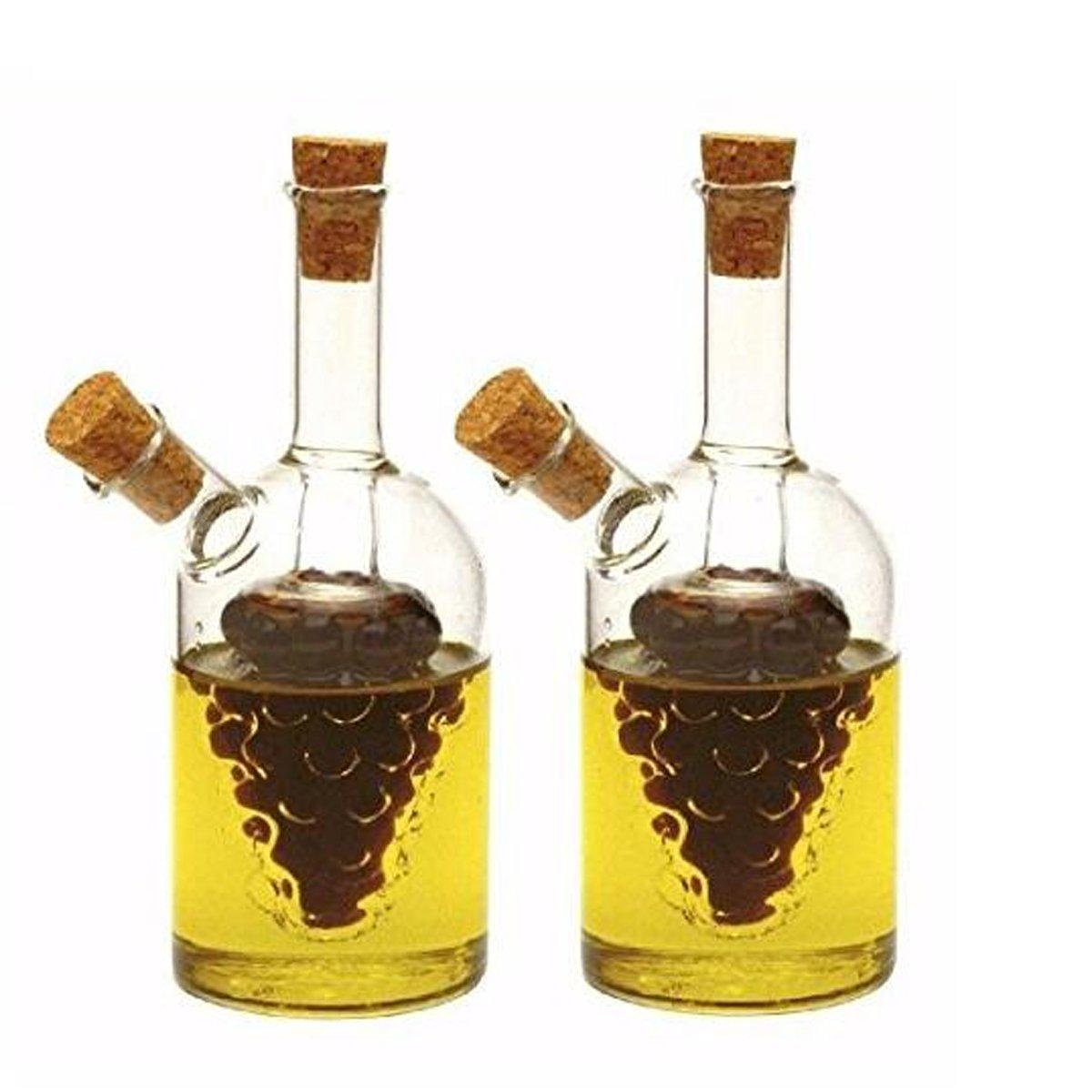 Eleton 2 in1 Hand blown Grape Shape Oil and Vinegar Bottle, Glass Olive Oil Dispenser Bottles Storage - 2 Piece Cruet