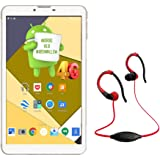 IKALL N4 (7-inch,1 GB, 8 GB 4G Calling Tablet) with MP3/FM Player Neckband Combo (White and Black)