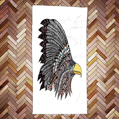 (SUPFENG Camping Towel Tribal Culture Inspired Hand Drawn Eagle in Feathered Designed Headdress Hippie Style Decorative for Bathroom, Hotel, Gym and Spa/3d Printing/Water Absorption/Multipurpose)