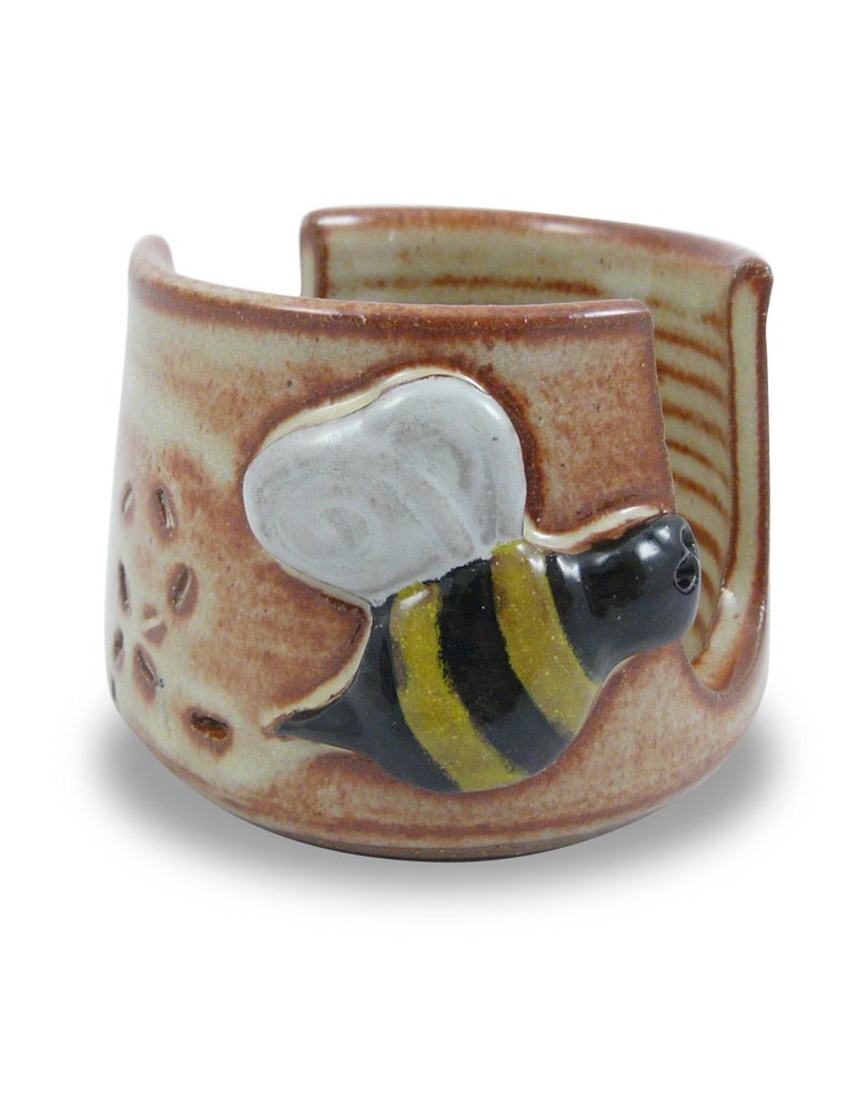 American Made Pottery Kitchen Sponge Holder, Busy Bee Motif