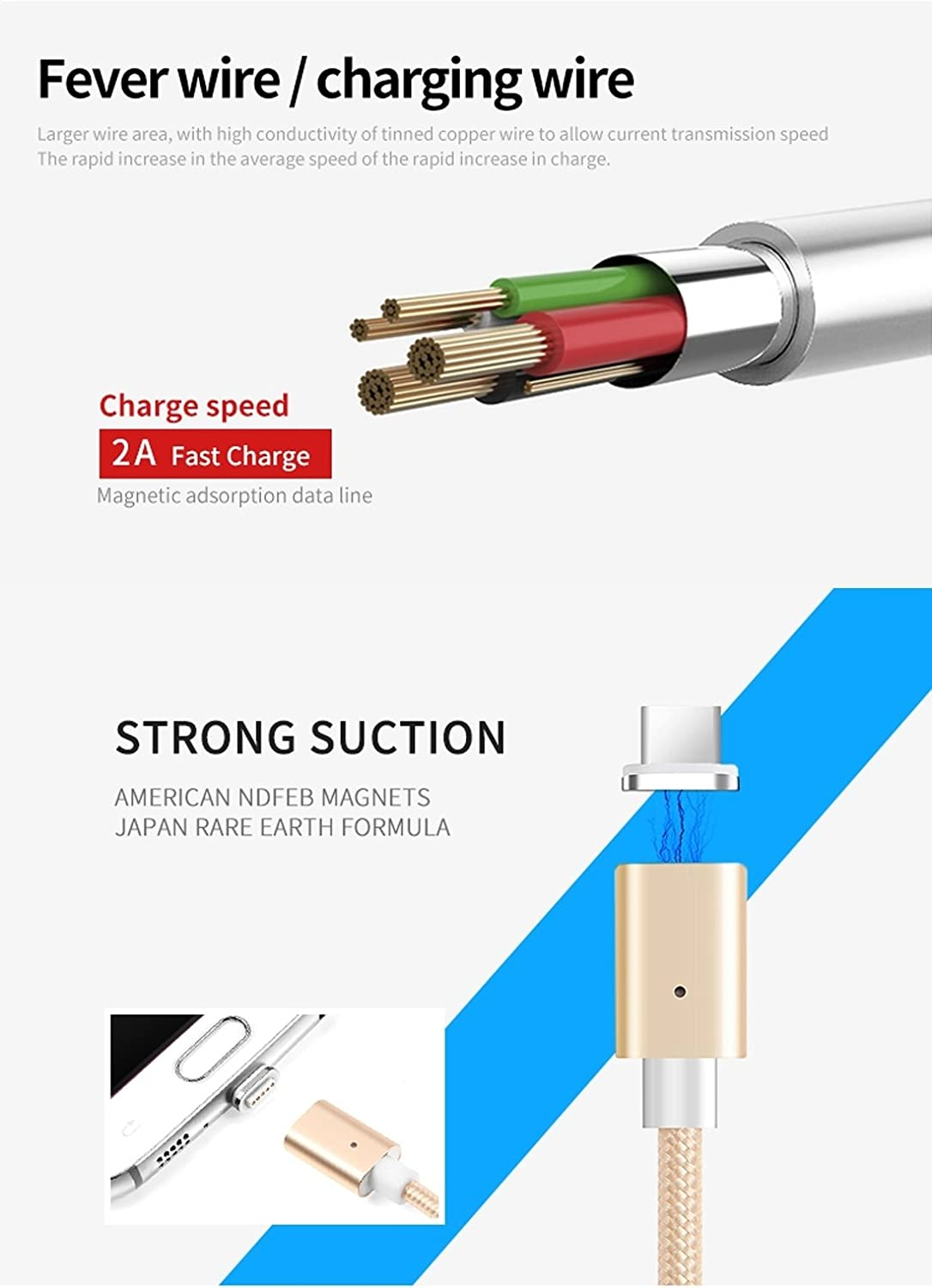 Color : Silver Data Cables POFAN P13 1m 2A Magnetic Type-C to USB Weave Style Data Sync Charging Cable with LED Light CE//FCC//ROHS Certificated