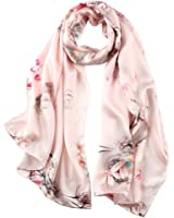 STORY OF SHANGHAI Womens 100% Mulberry Silk Head Scarf For Hair Ladies Floral Satin Scarf Gift for Valentine's Day