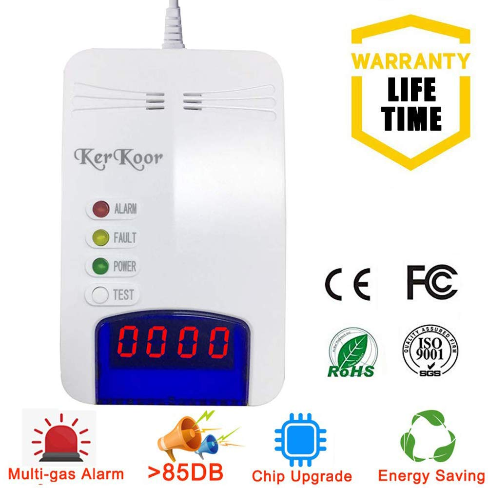 Natural Gas Leak Detector Detection Alarm Monitor Sensor for Home/Kitchen High Sensitivity Smart LPG/Coal/Propane/Methane/Gas Sniffer Detector for Home Electronic Pen Plug-in (2019 Chip Upgrade) by KerKoor