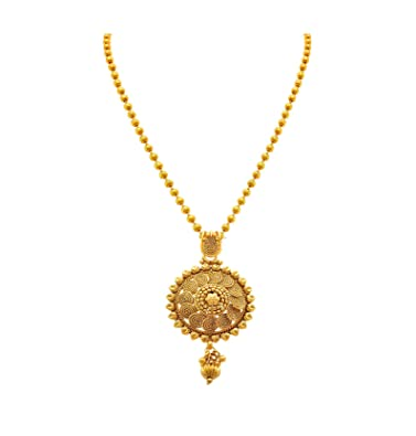 3f9838db04afaf Buy BFC- Flower Designer Gold Pendant with 18 inches Chain for Woman and  Girls. Online at Low Prices in India | Amazon Jewellery Store - Amazon.in