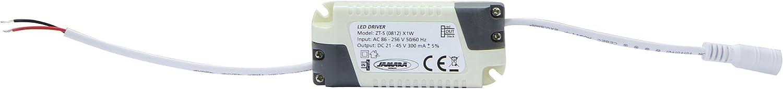 Jamara 701108 LED Downlight mit Glasrahmen rund inkl Netzteil 12W kaltwei/ß