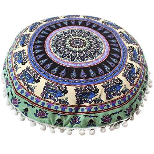 Napoo 2018 New Indian Mandala Print Pillows Round Bohemian Home Pillows Case Cushions (L)