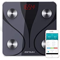 Body Scale, ZOETOUCH Bluetooth Body Fat Scale Analyser with iOS and Android App, Smart Digital Bathroom Weight Scale, Body Composition Monitor