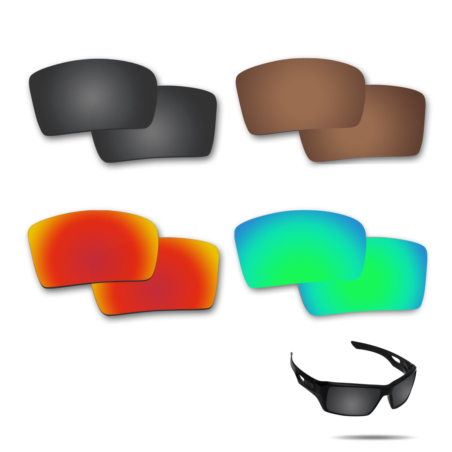 Fiskr Anti-saltwater Polarized Replacement Lenses for Oakley Eyepatch 2 Sunglasses 4 Pairs
