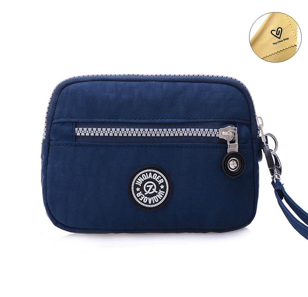 Tiny Chou Dual Layers Zipper Purse Waterproof Nylon Wristlet Bag Clutch Handbag Cell Phone Pouch-Navy Blue