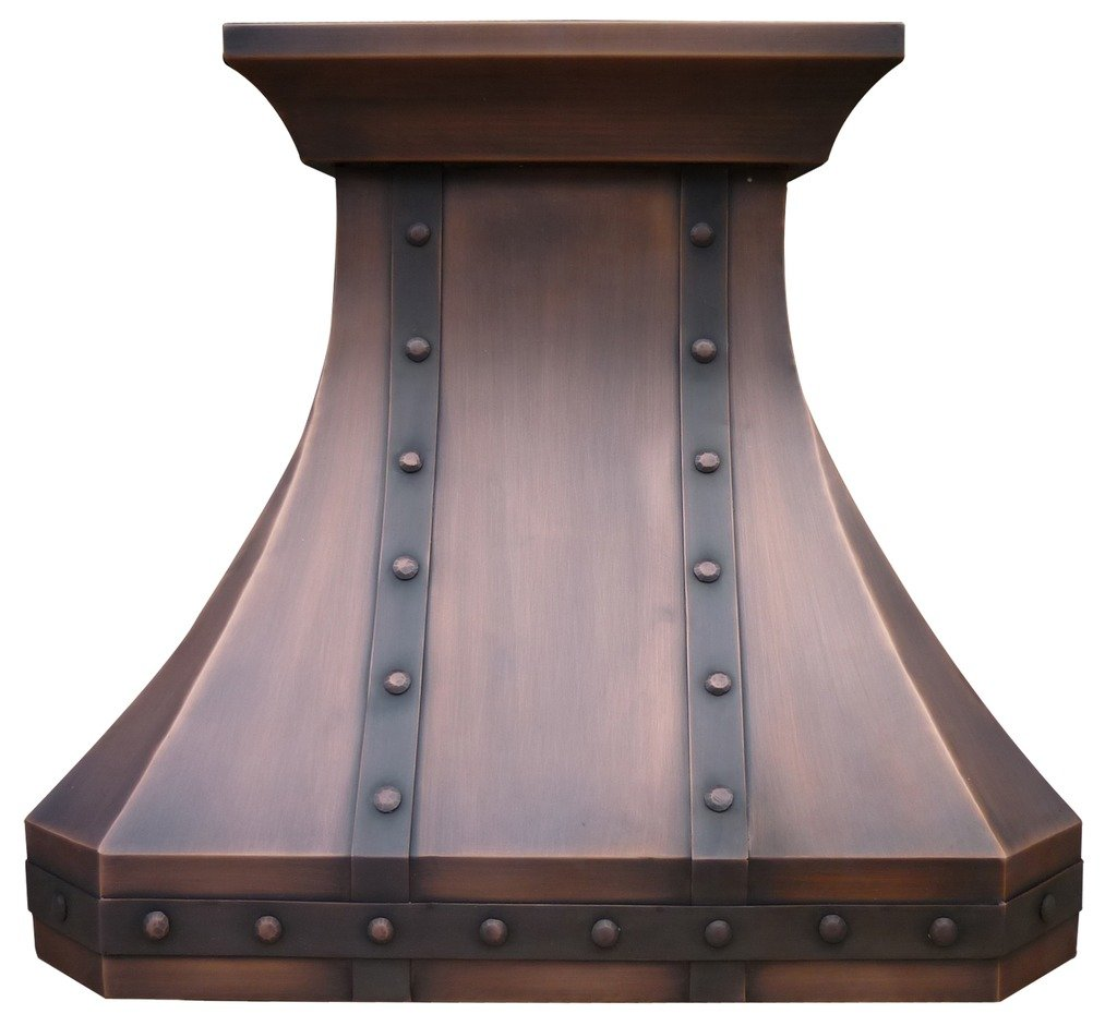 Copper Best H3 302127S Copper Range Hood with Unique Crown, Strips and Rivets 30 inch by Sinda
