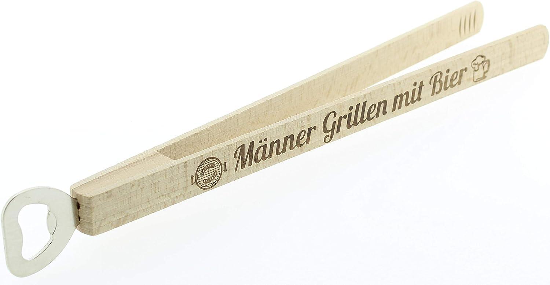KMC Austria Design Grillzange mit Flaschen/öffner /· Grillwerkzeug /· Grillzubeh/ör /· Hochwertiger Brandstempel M/änner Grillen mit Bier /· Geschenke f/ür M/änner /· Kombi-Grillzange aus Holz