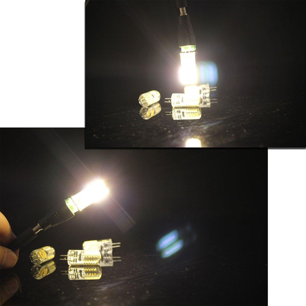 Energy efficiency class A + Aukru 4x G4 3W 48 SMD 3014 Led bulb lamp AC//DC 12V Warm White LED G4 Super Bright 200-280LM