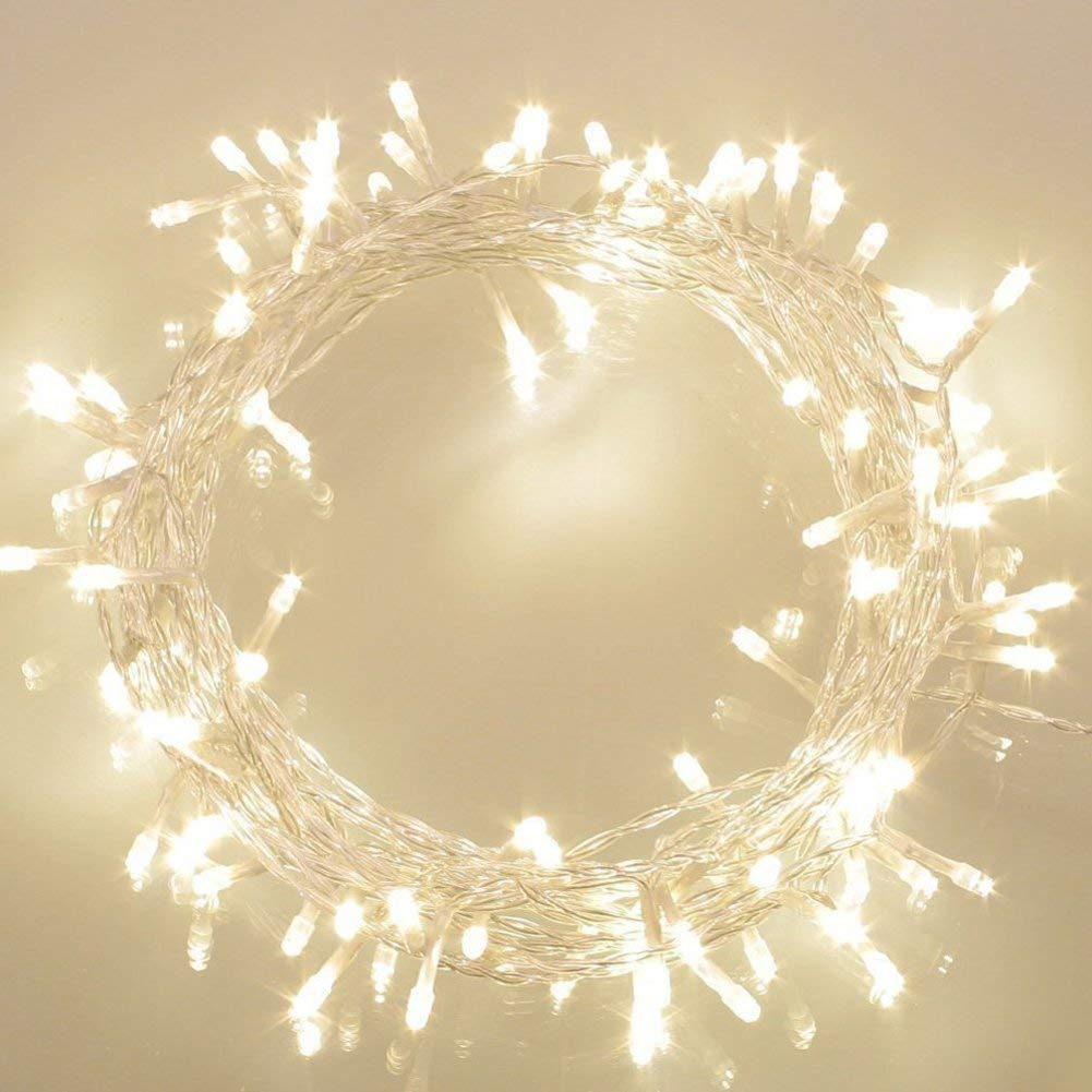 36ft 100 LED BatteryOperatedStringLightswithTimer on 11M Outdoor Clear String Lights(8 Modes, IP65 Waterproof, Dimmable, Warm White)
