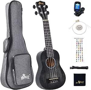 Winzz Ukelele Soprano para Niños Kit para Principiantes con 6 Accesorios, Diseño de Color Único - 21 Pulgadas Negro