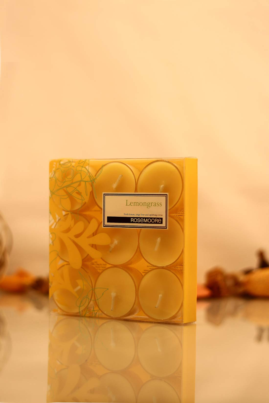 Rosemoore Yellow Lemongrass Scented Tea Lights For Living Room, Washroom, Bedroom, Office by Rose and Moore (Image #1)