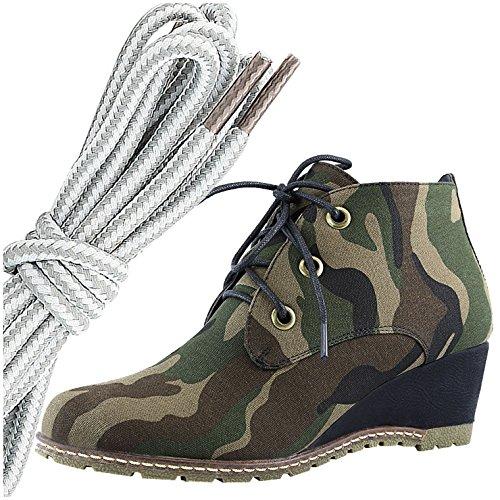 Dailyshoes Damesmode Vetersluiting Ronde Neus Enkelhoge Oxford Sleehaksschoen, Grijswit Camouflage Cv