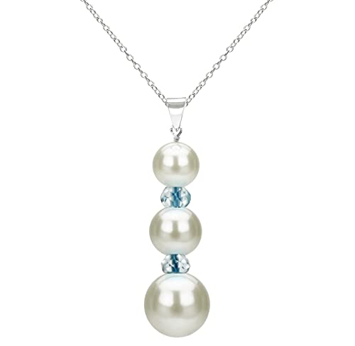 Freshwater Cultured White Pearl and Gemstones Pendant Necklace Chain Jewelry for Women