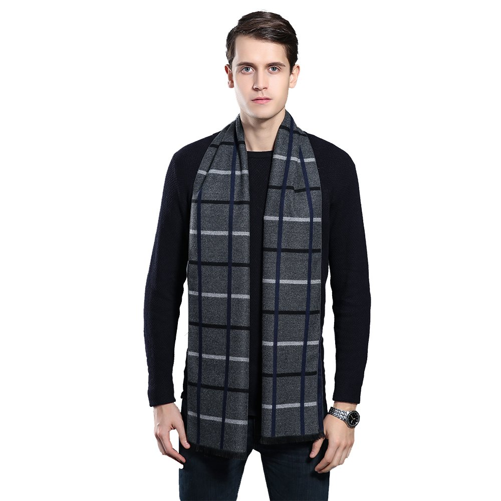 Mens Winter Cashmere Scarf - Ohayomi Fashion Formal Soft Scarves for Men(Grey/White Plaid)