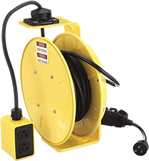 product image for KH Industries RTB Series ReelTuff Industrial Grade Retractable Power Cord Reel with Black Cable, 12/3 SJOW Cable Prewired with GFCI Protected Two Receptacle Outlet Box, 20 Amp, 50' Length, Yellow Powder Coat Finish