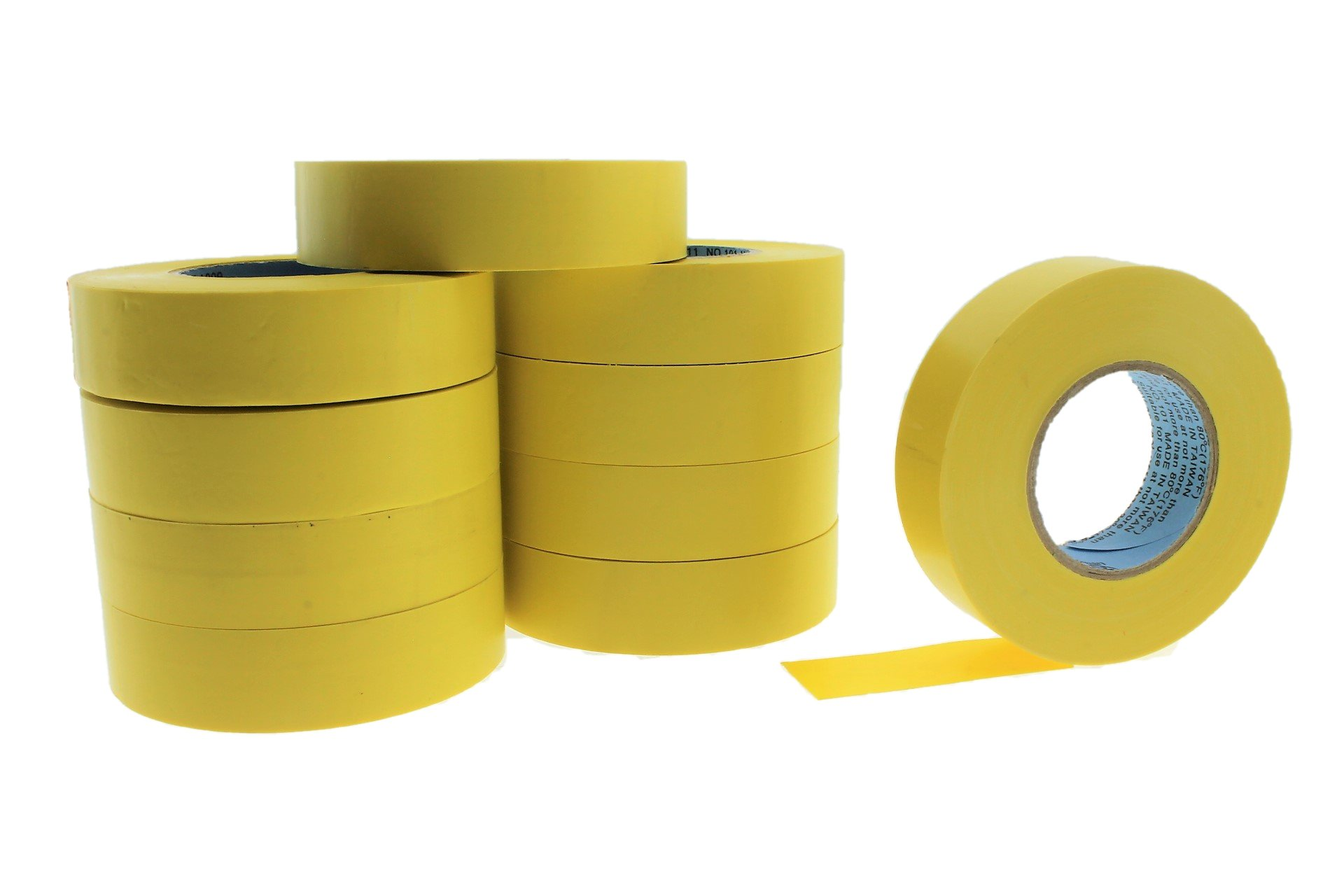 10pk 3/4'' YELLOW Electrical Tape Supreme Durable .75 Pro-Grade Wire harness PVC Vinyl Marking Labeling Coding Warning Safety Flame Retardant 60' 7 mil