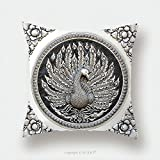 Custom Satin Pillowcase Protector Frame Engraving Silver Lacquer Plate Show Peacock Animals In Mythology Fine Art Global Crafts Thai 69289018 Pillow Case Covers Decorative