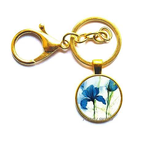 Llavero con diseño de flor de iris azul, con imagen de ...