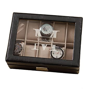 Monogrammed Leather Watch Box And Watch Case Personalized Watch Box