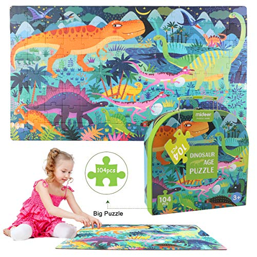 ZCGC Puzzles for Kids - Dinosaurs World Jigsaw Floor Puzzle - Large 16.5 Inches by 27.5 Inches Puzzle for Boys/Girls Preschool Children Toddler 3+ Yr (104 pcs)