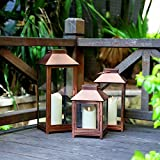 GiveU DFL-112 Big Lantern Set of 3 Indoor and Outdoor Metal Moving Flame LED Candle-with Batteries, L,M.S, Bronze