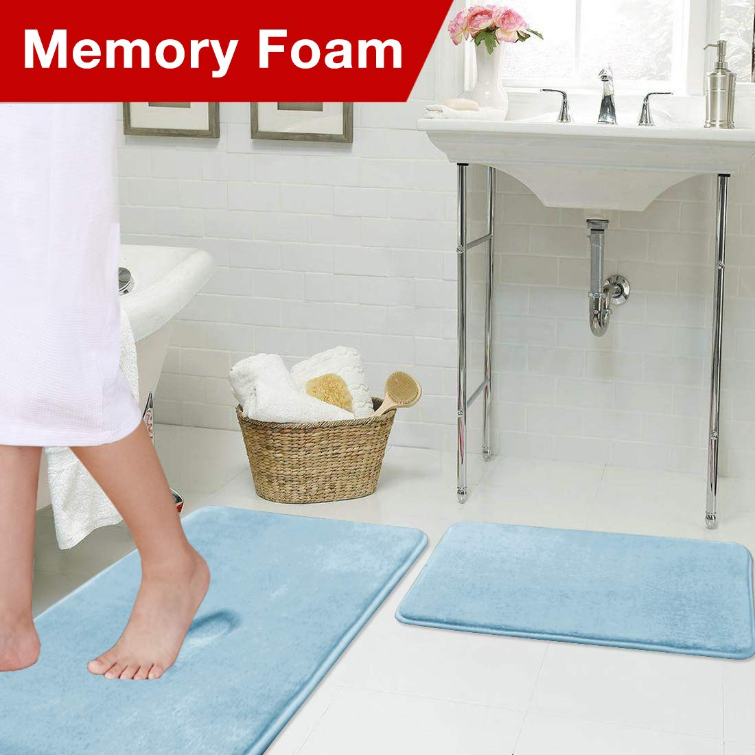 Memory Foam Bathroom Rug Set Ultra Soft Flannel Floor Mats Tufted Bath Rug with Non-Slip Backing Microfiber Door Mat for Kitchen/Entryway/Living Room (Pack 2-17'' x 24''/ 20'' x 32''- Sky Blue) by Flamingo P (Image #3)