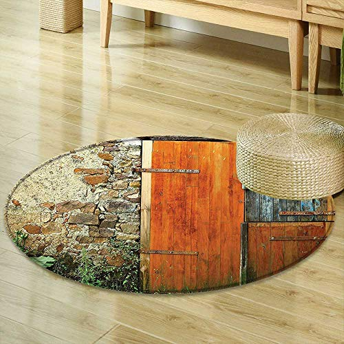 Stone Foyer Country - Mikihome Round Area Rug Shutters Decor Old Fashion Country House French Style Entrance Stone Wall Farmhouse Picture Print Brown Green Indoor/Outdoor Round Area Rug R-47
