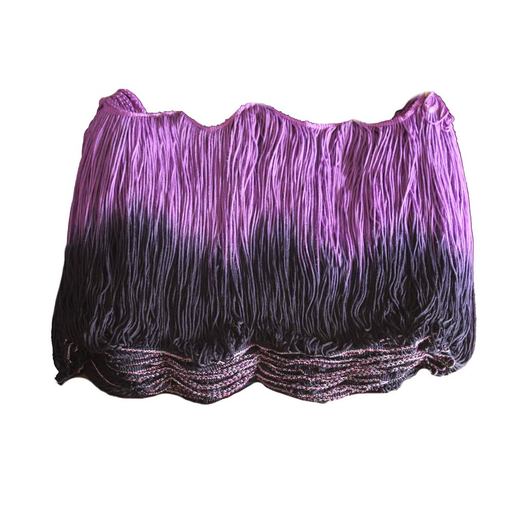 CENFRY 10yards of 10inch Width Two Colors Fringe Trim Tassels Latin Clothing Curtain Accessories Manual DIY Lace (Purple+Black) by CENFRY