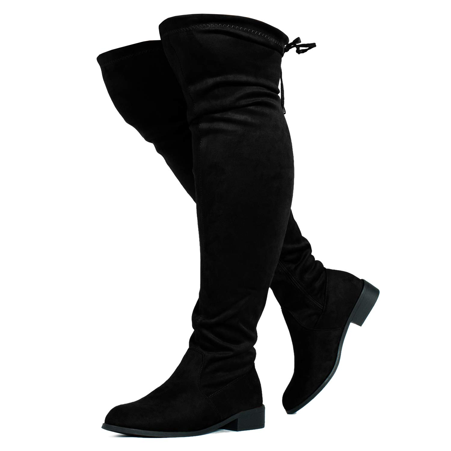 RF ROOM OF FASHION Stretchy Over The Knee Riding Boots (Wide Calf) Black SU (9) by RF ROOM OF FASHION