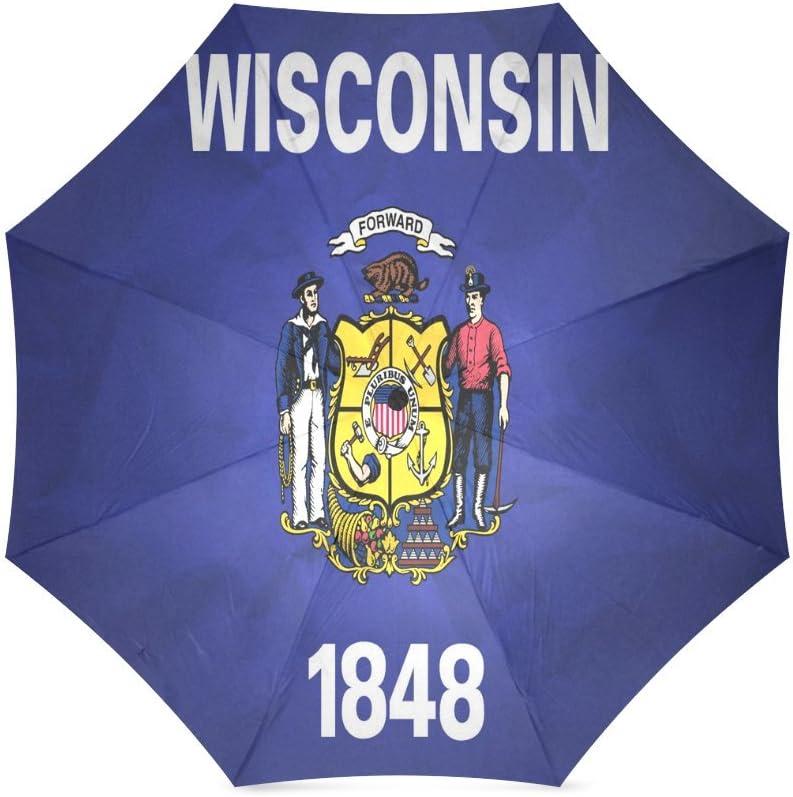 Custom Wisconsin State Flag Compact Foldable Rainproof Windproof Travel Umbrella