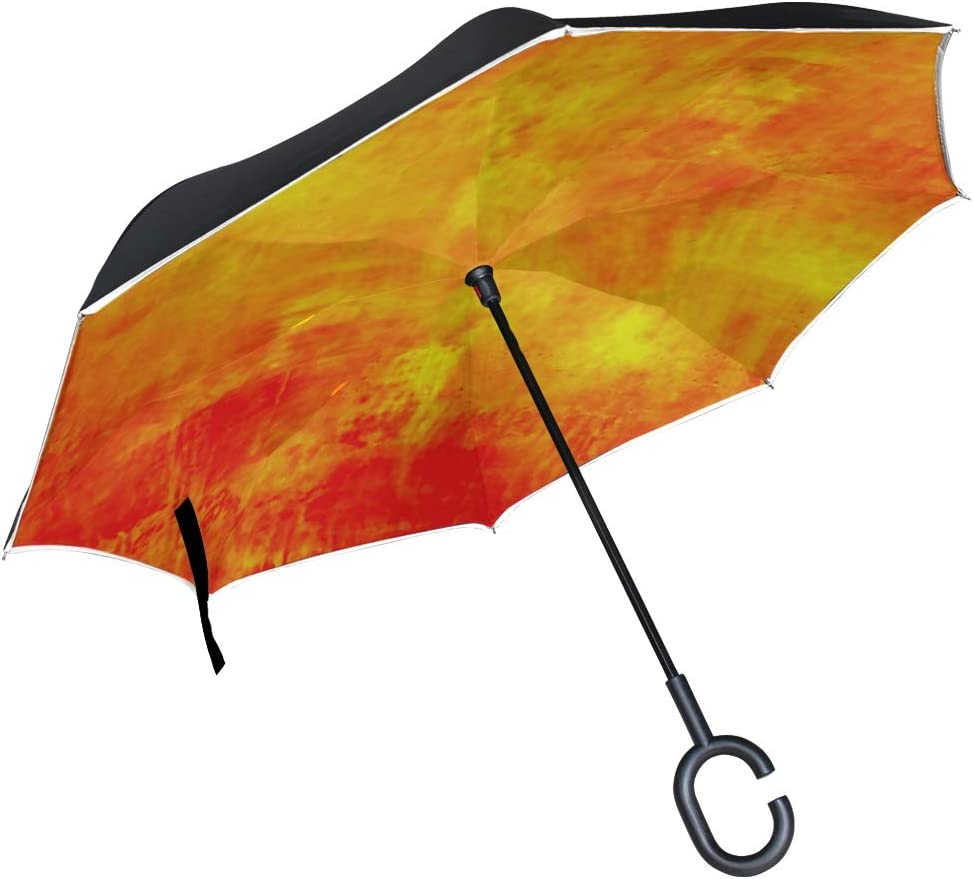 Double Layer Inverted Inverted Umbrella Is Light And Sturdy Abstract Orange Background Reverse Umbrella And Windproof Umbrella Edge Night Reflection