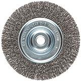 Weiler Vortec Pro Narrow Face Wire Wheel Brush, Round Hole, Carbon Steel, Crimped Wire, 6'' Diameter, 0.014'' Wire Diameter, 5/8-1/2'' Arbor, 6000 rpm