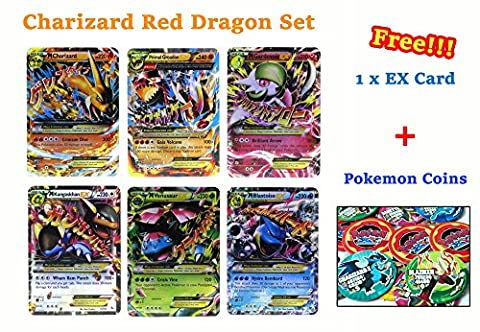 Set of 6 Mega EX Cards Charizard Y Version