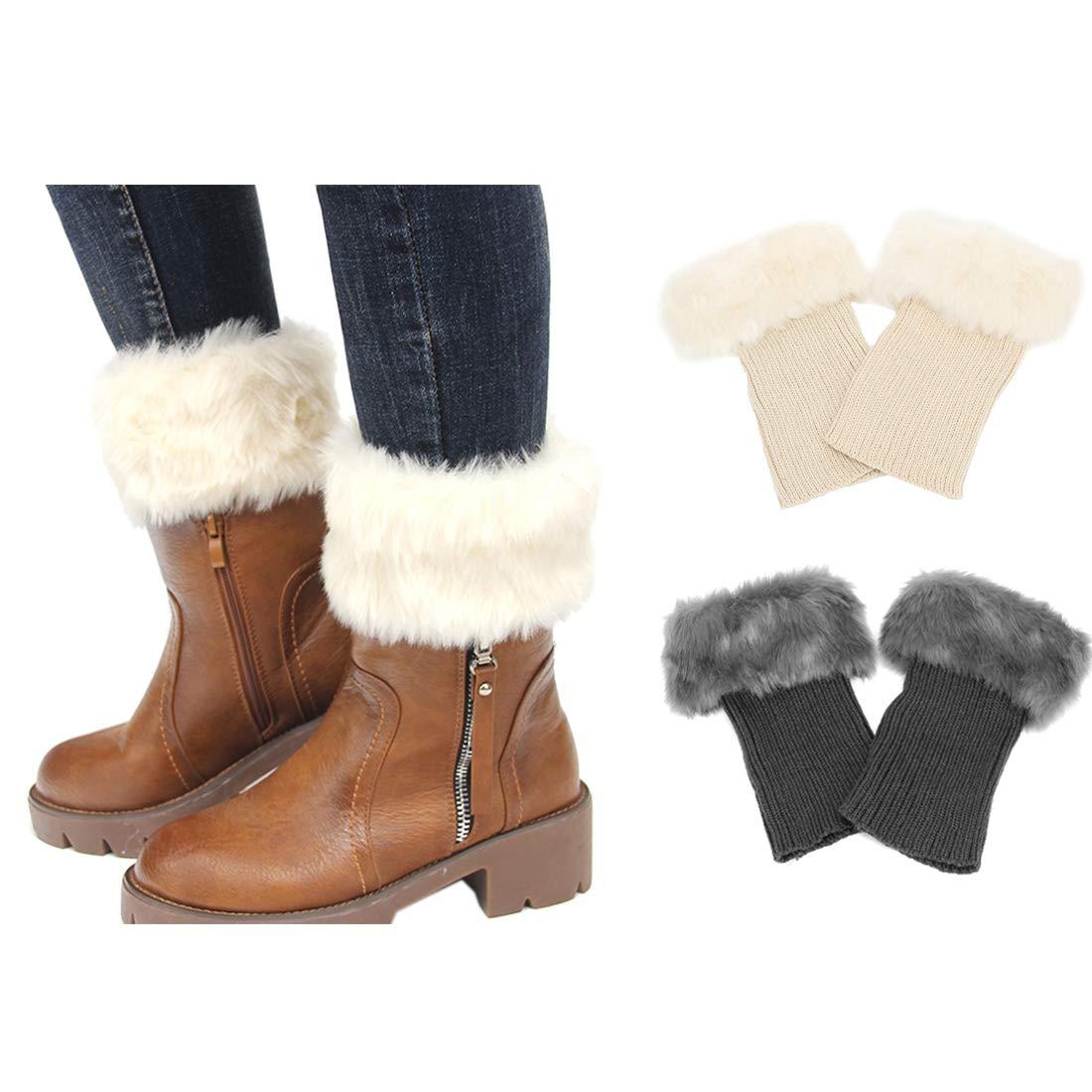 cd91e85613559 FAYBOX Women Winter Faux Fur Boot Cuff Knitting Leg Warmers Short product  image