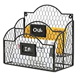 Black Metal Chicken Wire Wall Mountable Mail Sorter, Desktop Stationery Organizer w/ Chalkboard Label