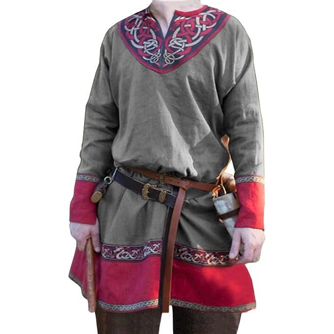 WEIMEITE Hombre Camisa Medieval Retro Pirata Vikingo ...