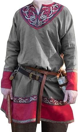 JIXUAN Medieval Larp Túnica Camisa para Hombres Larp Traje Vikingo Top Largo Hombres Antiguos Romanos Griegos Tabardo Ropa Blusas Renacentistas
