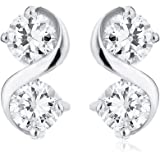 Ornami Glamour 9ct White Gold 4 Cubic Zirconia Stone 8 Figure Shape Earrings