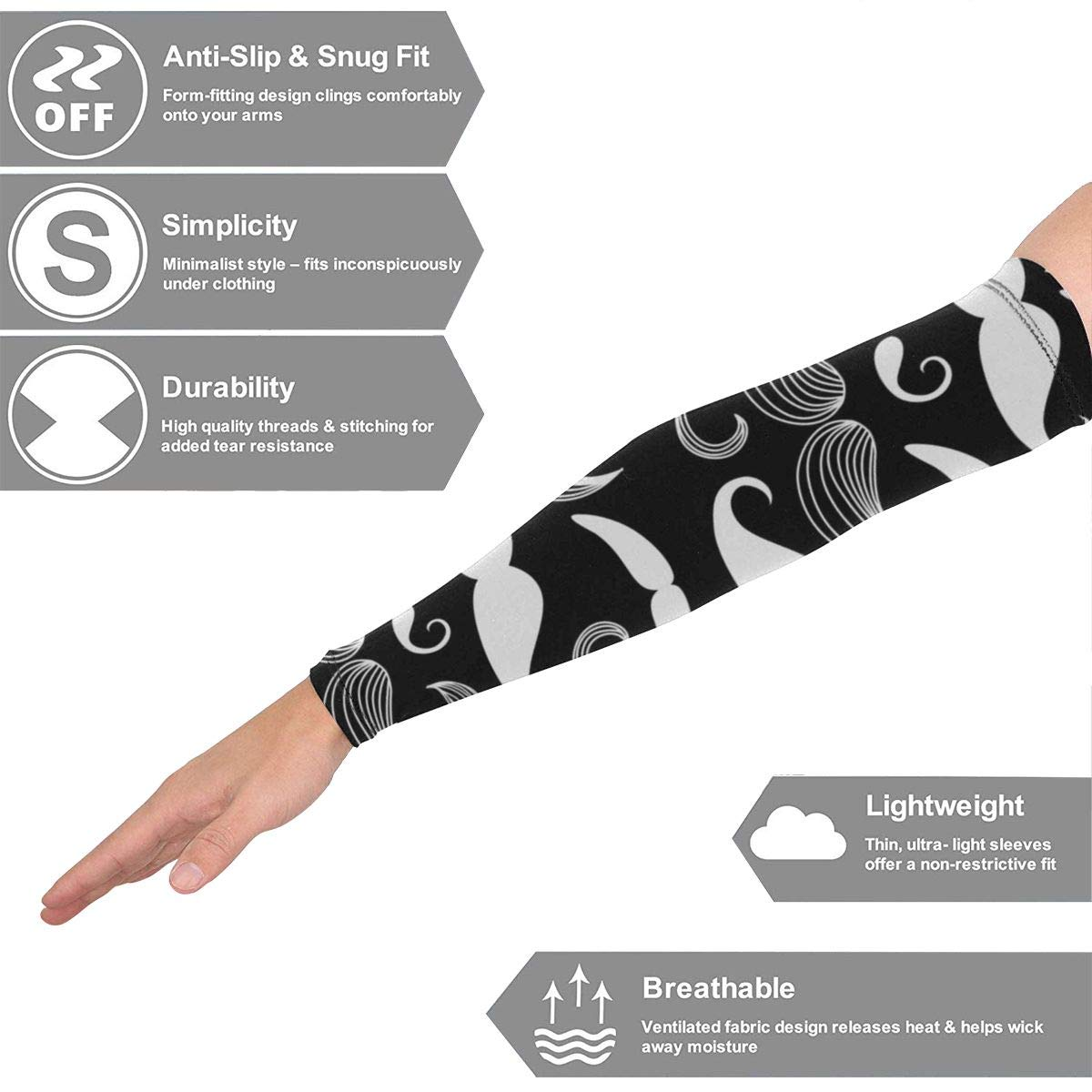 Gulong~a Cute Black White Mustache Pro-Fit Athletic Arm Sleeves for Men Women Youth Sports Compression Arm Sleeve UV Protection Cooling Arm Sleeves