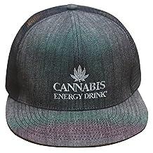 Cannabis Energy Drink Flat Bill Trucker Cap, Black/Grey, Adjustable Snapback