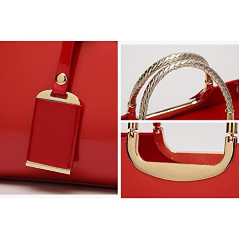 Große Rote Brauttasche Hochzeitstasche Europäische Und Amerikanische Mode Handtaschen Hell Leder Umhängetasche Damen Lacktasche Abendtasche,Blue-OneSize CHENGXIAOXUAN