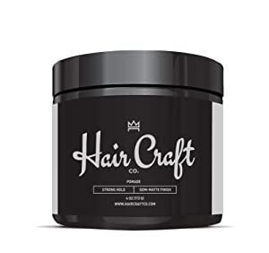 Hair Craft Co. Pomade 4oz - Best Semi-Matte Finish Shine - Original Hold Medium Strength (Gel) – Men's Styling Product, Barber Approved - Water Based/Soluble - Boss Scented - Straight/Thick/Wavy Hair